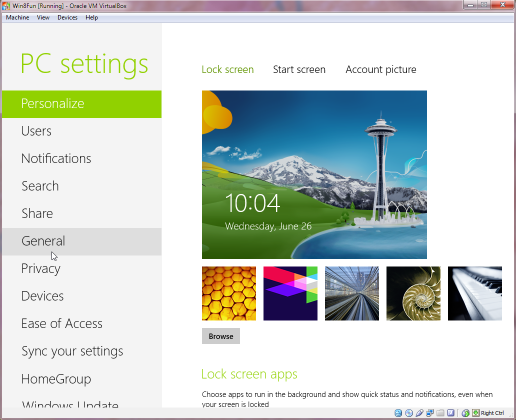Windows 7's PC settings page.