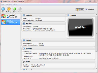 VMWare Virtualbox Manager Screen