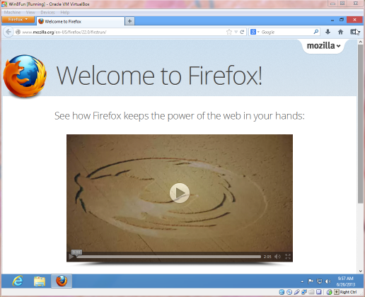 Firefox is up and running, but where the heck is the start button?