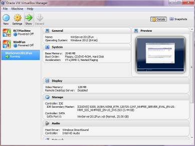 VMWare VirtualBox with Windows Server 2012 and Windows 8.