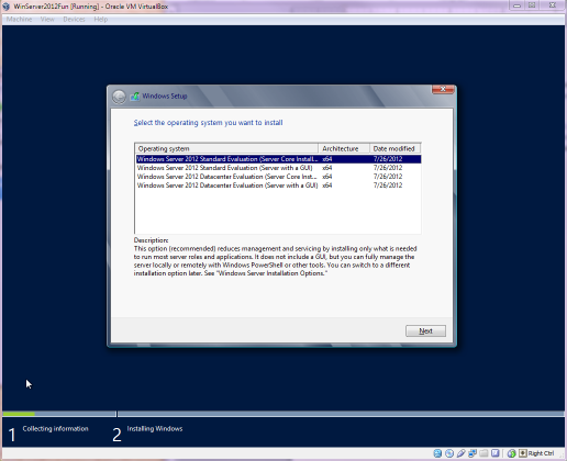 Windows Server 2012 install asking if I want a GUI or not