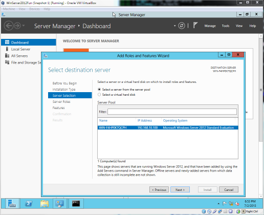 Windows Server 2012: Add Roles and Features