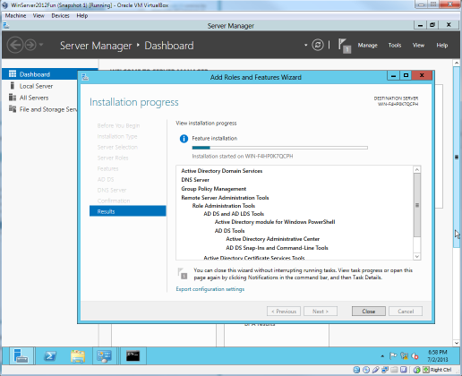 Windows Server 2012 showing the features that will be installed.