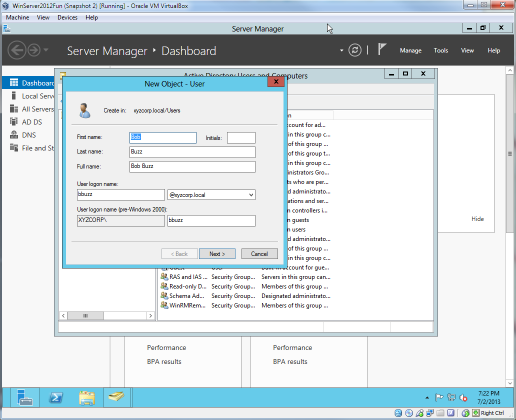 The create user screen in Windows Server 2012