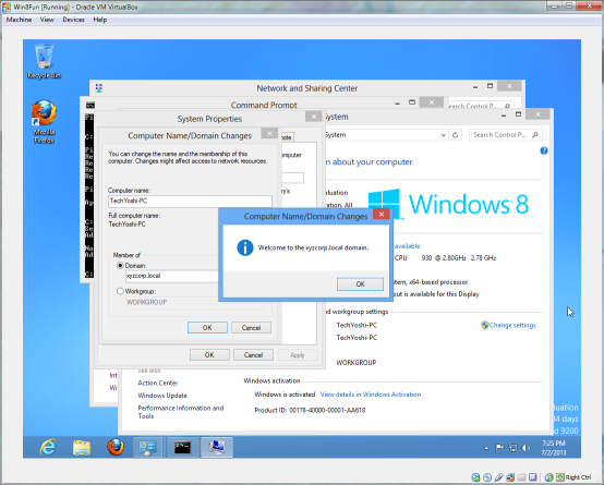 Windows 8 successfully joining a Windows Server 2012 domain.